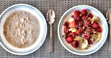 oatmeal breakfast, berries,