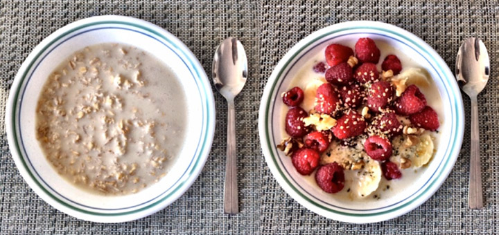oatmeal breakfast, berries