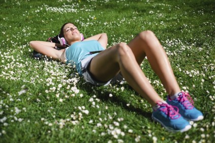 Woman resting after outdoor activity