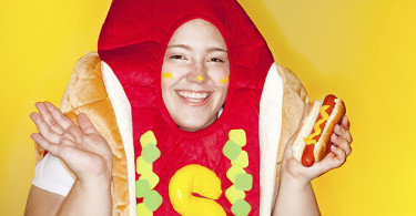 Woman in Hot Dog Costume
