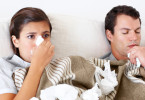 Young couple lie together in bed while they both have the flu