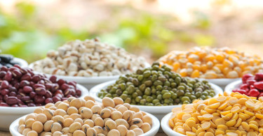 bowls of beans and pulses