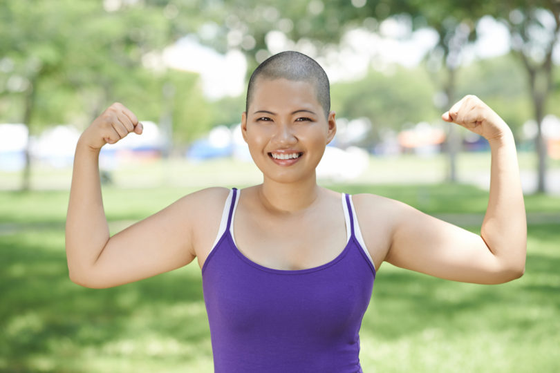 woman showing arm muscles