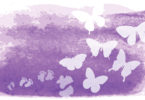 White butterflies appear in front of a purple background.