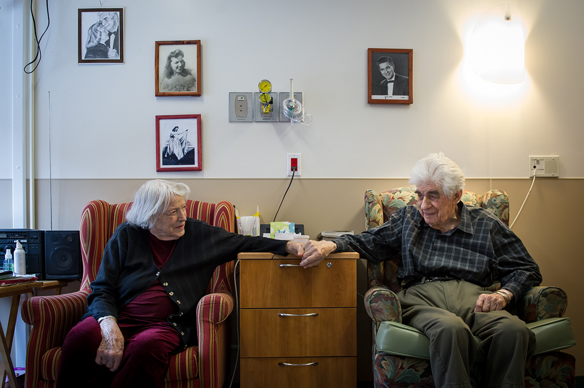 Bernice and Eddie Graf hold hands in their room at Sunnybrook's Veterans Centre