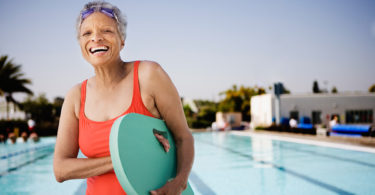 older woman at pool