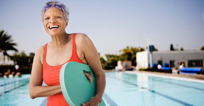 older woman at pool