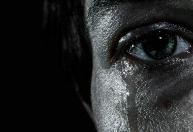crying eye close up