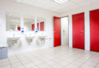 red doors in washroom