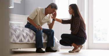 daughter concerned about father with depression