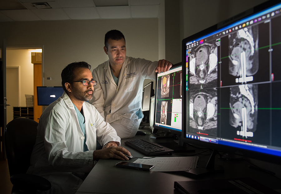 Medical physicist Dr. Ananth Ravi (left) and radiation oncologist Dr. Eric Leung were integral to the development and implementation of the MRI-Brachytherapy Suite.