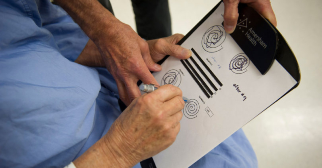 Patient draws spiral after treatment.