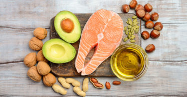 healthy fats: pink fish avocado nuts
