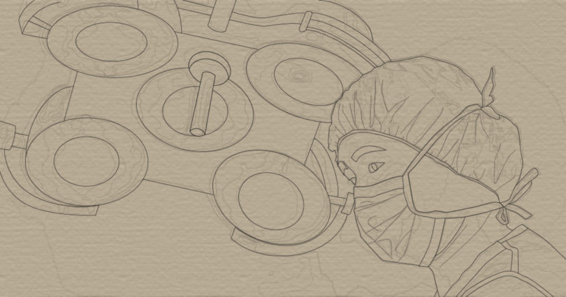 stylised drawing of surgeon in operating room