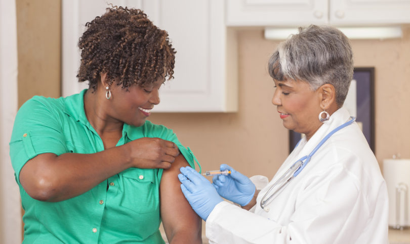 Women receiving vaccine
