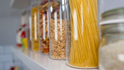 Food on a pantry.