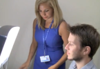 Patient participating in light therapy