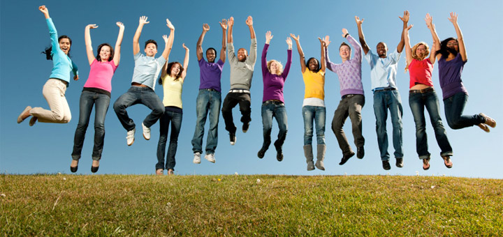 Happy group of people jumping