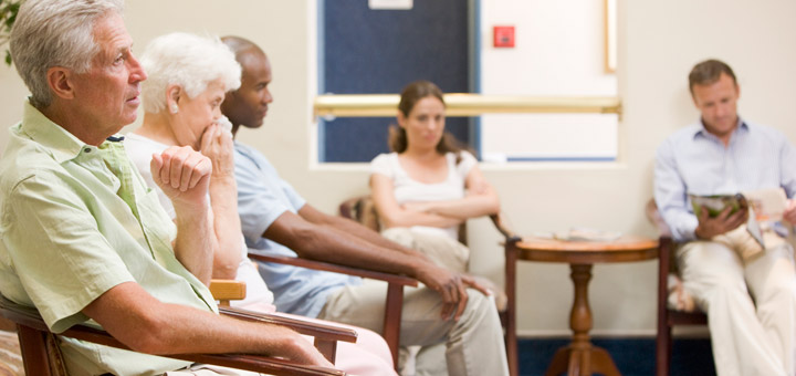Patients in doctor's office waiting room