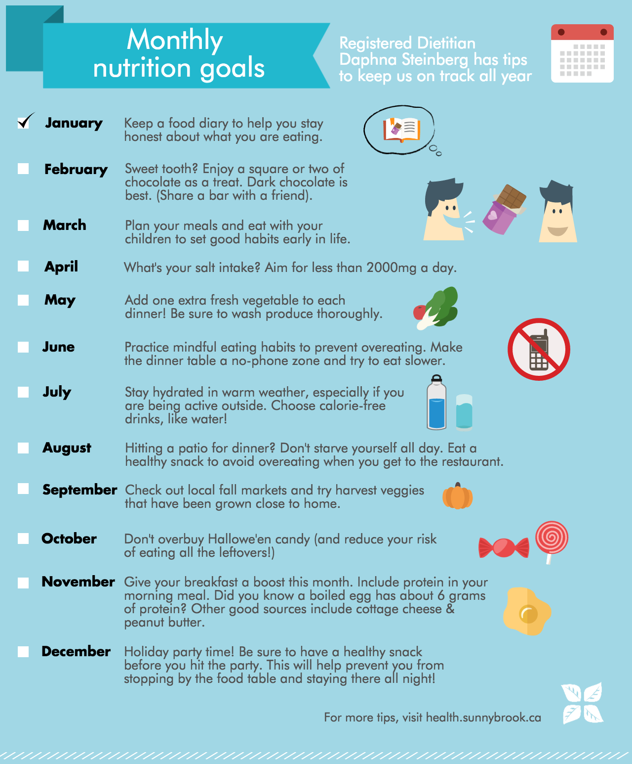Monthly nutrition goals/tips - infographic