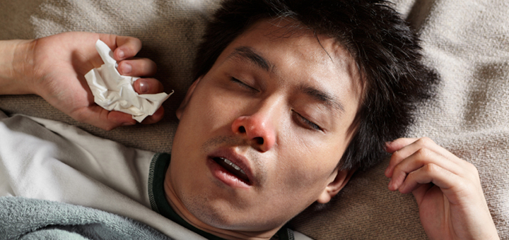 Man suffering from the flu