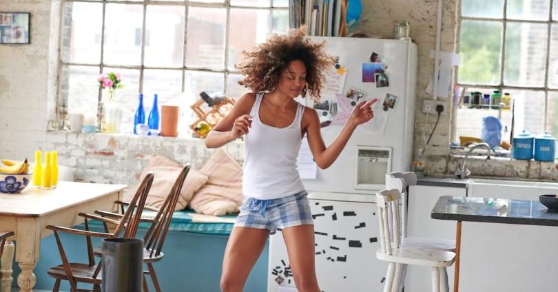 dancing girl in kitchen
