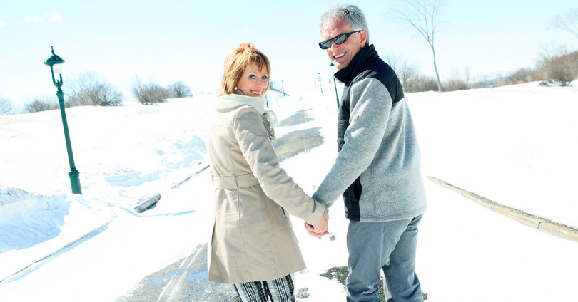 Winter couple walking
