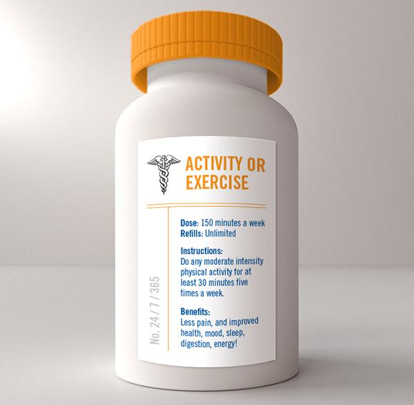 Pill bottle prescription for exercise