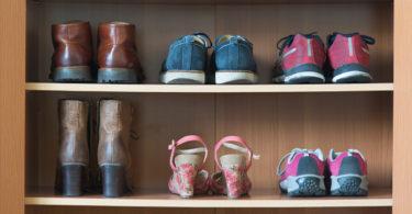 a tidy shoe closet