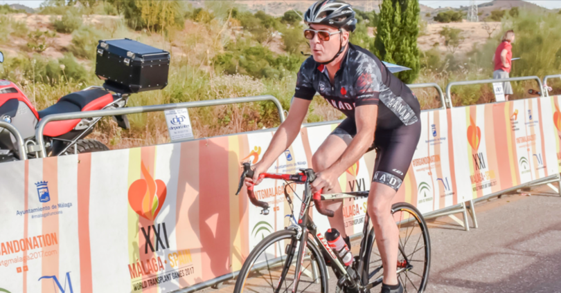 Claude Laflamme cycling in the 2017 World Transplant Games