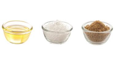 three bowls - fat, salt and sugar
