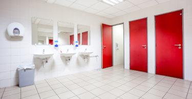 red doors in washroom