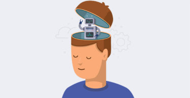 free will blog animated cartoon brain with robot inside