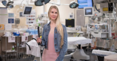 Sarah pictured in Sunnybrook's trauma room