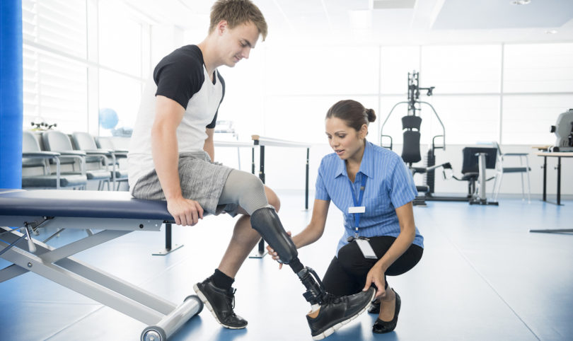 leg amputee and physiotherapist