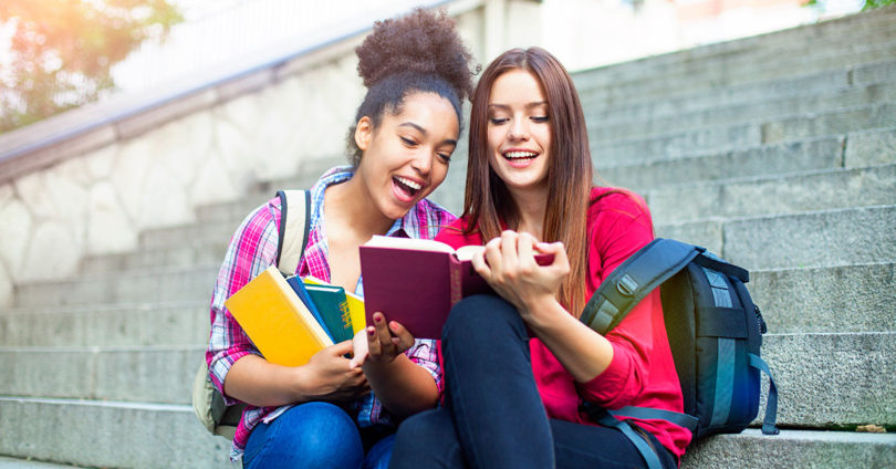 teens outside school