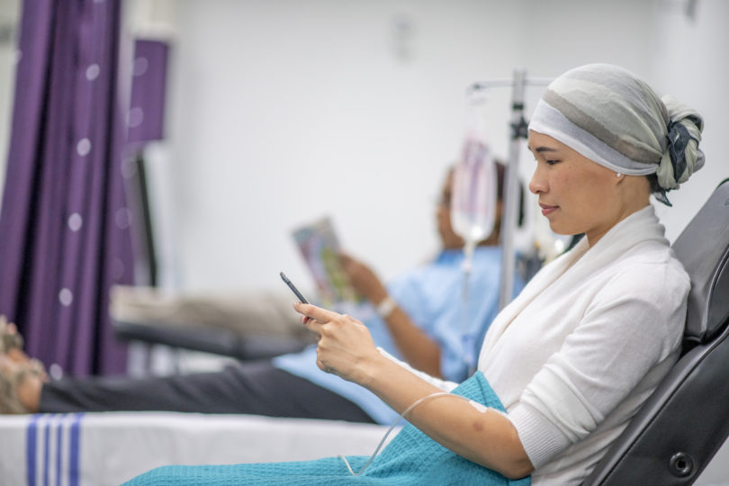 woman receiving chemotherapy