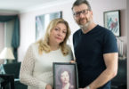 Lana Lewis and Russell Korus hold a photo of their late mother Annie Korus.