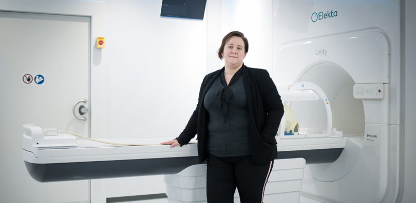 Sunnybrook radiation therapist Mikki Campbell with the Elekta Unity MR-Linac.