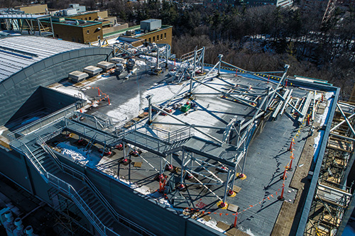 The construction stage of Sunnybrook's new helipad.