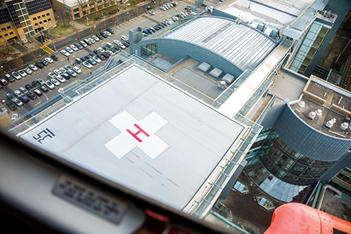 An aerial view of Sunnybrook's new helipad.