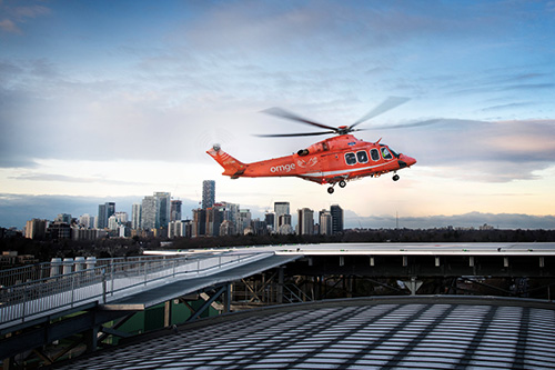 An Ornge helicopter lands on Sunnybrook's new helipad.
