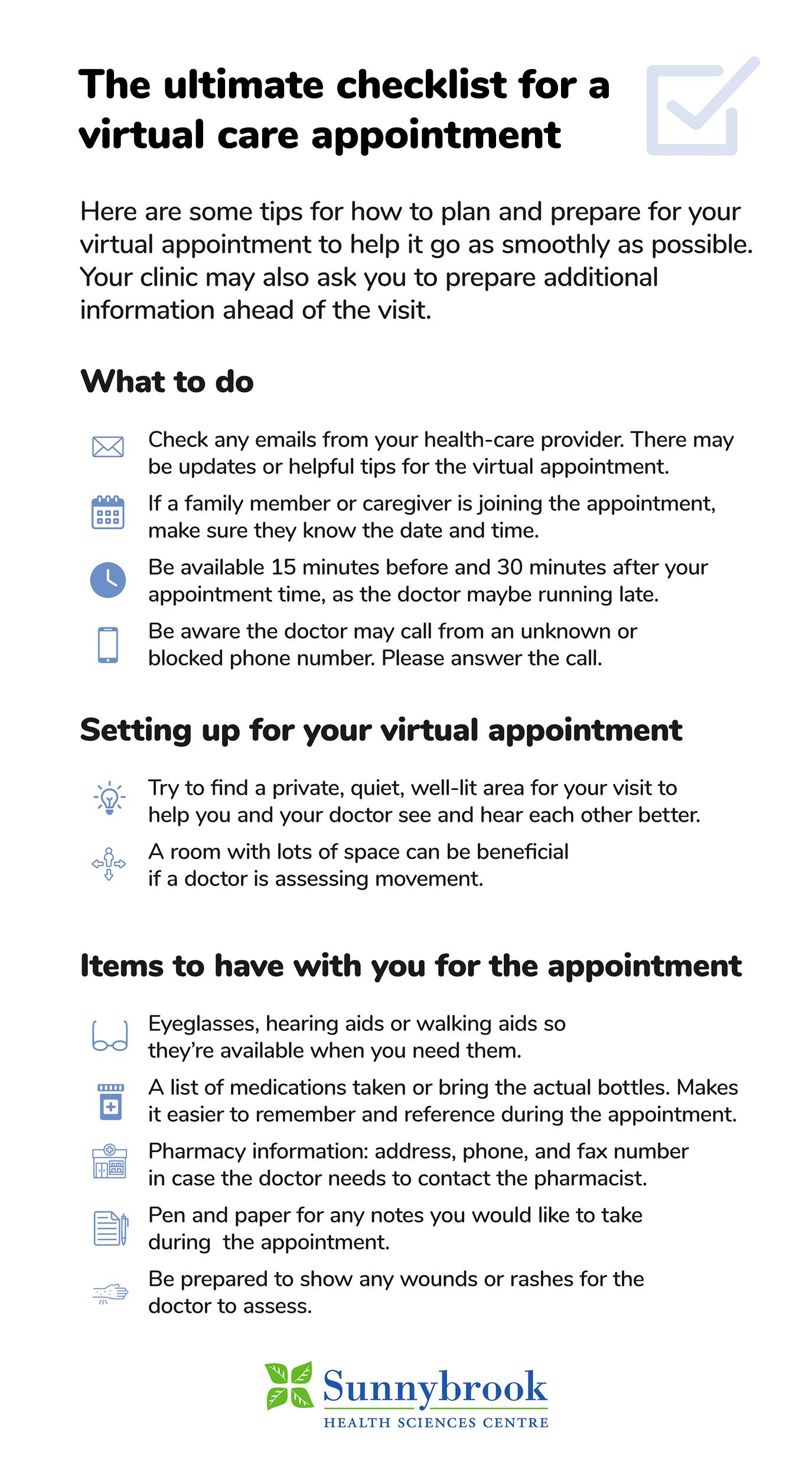 Virtual care checklist infographic. Text version below.