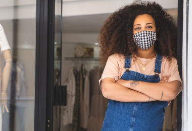 woman wearing mask at store