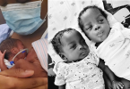 Danielle holds her premature babies on her body in a photo on the left. On the right, a photo of her babies now