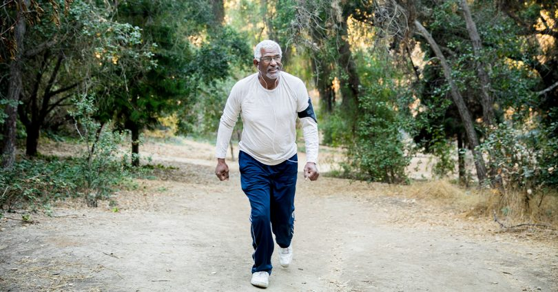Senior man out for a hike